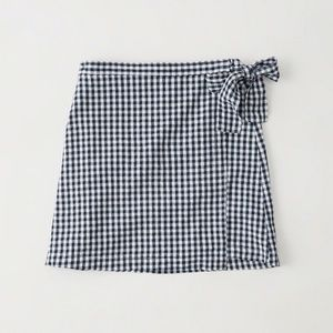 Abercrombie & Fitch Navy Blue Check Wrap Skirt!